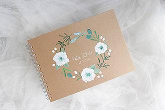 Papiernictvo - Kniha hostí biely kvet - 8207652_