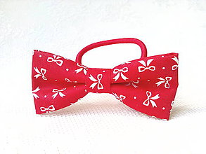 Ozdoby do vlasov - Romantic hair bow (red/little white bows) - 8209656_