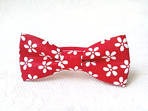 Ozdoby do vlasov - Romantic hair bow (red/white flowers) - 8209693_