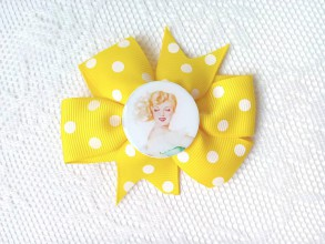 Ozdoby do vlasov - Pin Up hair clip (yellow/white polka dots) - 8212613_