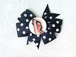 Ozdoby do vlasov - Pin Up hair clip (black/white polka dots) - 8212624_
