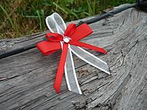 Svadobné pierka FOLK červeno-biele