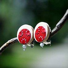 Náušnice - Klipsne červená s perličkou - 8209745_