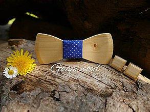 Doplnky - SET - drevený motýlik + manžetové gombíky - 8210691_