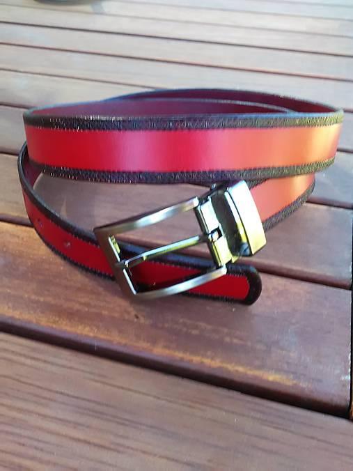 Kožený opasok hladký červený šírka 3cm