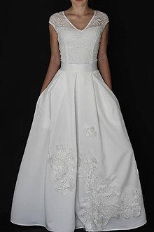 Sukne - Svadobná skladaná sukňa s kvetmi biela a smotanová ivory - 8210021  67f1dc072b3