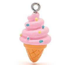 Komponenty - Prívesok Jahodová zmrzlina 26x13 mm - 8210496_