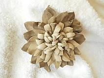 - Brošňa kožená, zemitý kvet - 8211011_