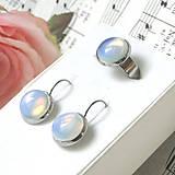 Elegant Opalite Stainless Steel Set / Sada prsteňa a náušníc s opalitom - chirurgická oceľ /0573