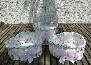 Dekorácie - Svadobné košíčky - menšie sady (ružová so štrasom) - 8214108_