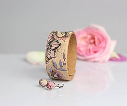 Náramky - Set - ručne maľovaný kožený náramok s náušnicami - 8214643_