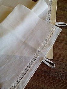 Úžitkový textil - Ľanová utierka s krajkou - 8216006_
