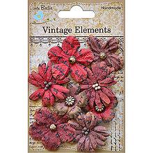 Papier - Vintage Elements - Rhea Flowers (červené kvietky s textom) - 8213521_