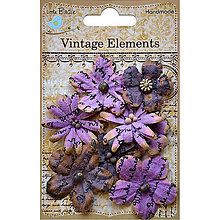 Papier - Vintage Elements - Rhea Flowers (fialové vintage kvety potlačené) - 8213609_