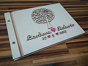 Papiernictvo - Svadobná kniha hostí - motív strom - 8213929_
