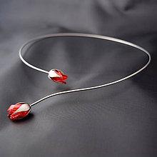 Náhrdelníky - Náhrdelník PET červené puky - 8215622_