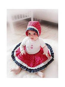 Detské súpravy - Baby čepiec + sukienka červená Folklór - 8213210_