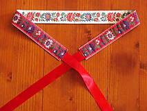 Opasky - Folklórny opasok - 3,5 cm červeno - biely - 8214831_