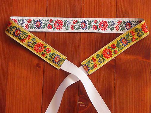 2266a50b0 Folklórny opasok 3,5cm - žlto - biely / erikak - SAShE.sk - Handmade ...