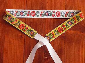 Opasky - Folklórny opasok 3,5cm - žlto - biely - 8213223_