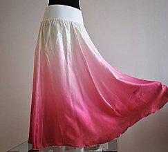 Sukne - Růžovo krémová - dlouhá hedvábná sukně - 8214227_