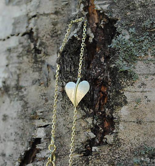 Jesenné srdce náramok zlatý