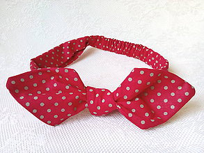 Ozdoby do vlasov - Pin Up headband on elastic (red/small beige dots) - 8218909_
