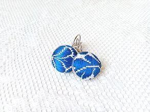 Náušnice - Folklórne náušnice (kráľovsky modrá/biela) - 8218970_