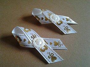 Pierka - svadobné pierko bielo-zlaté - 8216305_