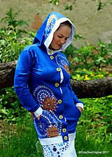 Dámska mikina s kapucou, šitá, maľovaná, etno MAHÁDÉVI