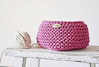Košíky - Pletený košík - pink - 8218258_