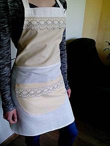 Iné oblečenie - Ľanovo bavlnená zástera s krajkou - 8217423_