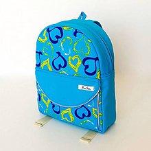 Detské tašky - Detský nepremokavý ruksak/batoh - modrý so srdiečkami - 8216398_