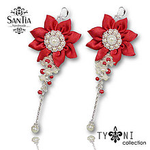Náušnice - Náušnice so strapcami perál (Červeno-biele) - 8219014_