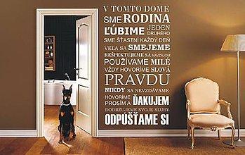 Dekorácie - Nálepky na stenu - Pravidlá rodiny - Slovensky  (Čierna) - 8217404_