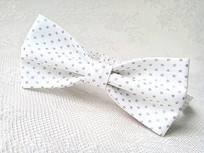 Doplnky - White bow tie with silver dots - 8219823_