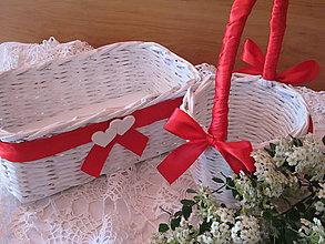 Košíky - Košíky- Svadobná súprava červená - 8220309_