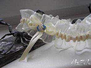 Bielizeň/Plavky - Svadobný podväzok s kúskom modrej - 8220314_