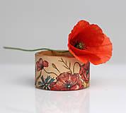 Náramky - Ručne maľovaný kožený náramok