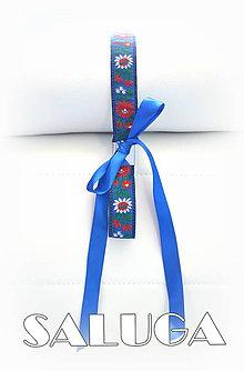 Opasky - Dámsky folklórny opasok - modrý - folk - ľudový - 8220762_