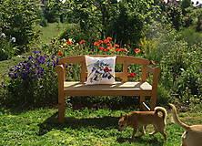 Úžitkový textil - Maľovaný poťah na vankúš - zvončeky + divý mak - 8220242_