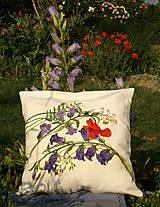 Úžitkový textil - Maľovaný poťah na vankúš - zvončeky + divý mak - 8221351_