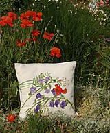Úžitkový textil - Maľovaný poťah na vankúš - zvončeky + divý mak - 8221353_