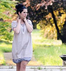 Šaty - Béžovo modré - 8221327_