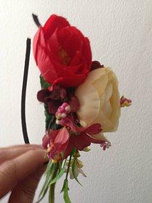 Ozdoby do vlasov - Celenka cerveno- ružovo- kremova - 8220753_