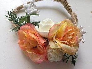 Náramky - Náramok na ruku alebo ozdoba do copu oranžovo- biely - 8221588_