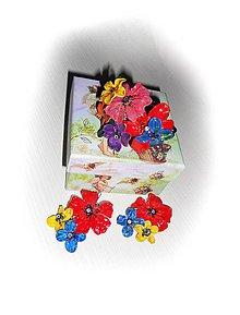 Náramky - folklor flowers náramok a náušnice - 8223193_
