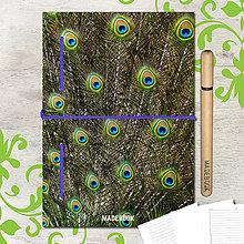 Papiernictvo - MADEBOOK kniha A5 - Pávie perá - 8223234_
