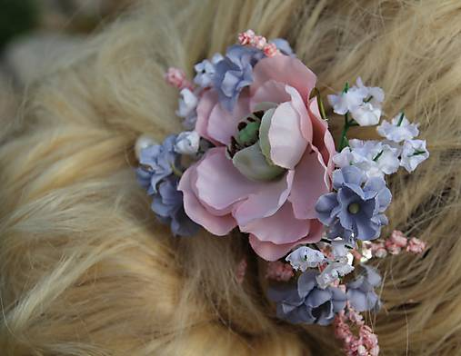 Spona do vlasů - modro-růžová   Avadesign - SAShE.sk - Handmade ... 4aaaf6e798