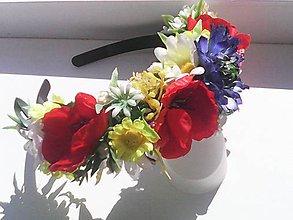 """Ozdoby do vlasov - Kvetinová čelenka do vlasov """"...folklórna z lúčnych kvietkov..."""" - 8222761_"""
